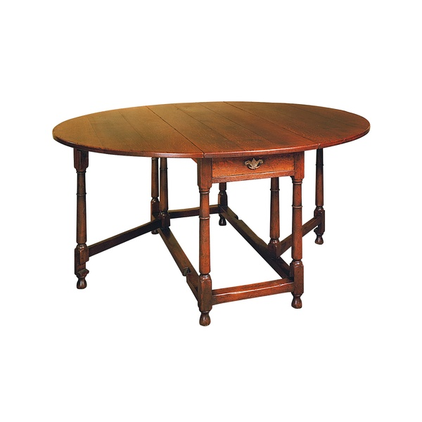 Gateleg Table with Drop Leaf - Solid Oak Dining Tables - Tudor Oak, UK
