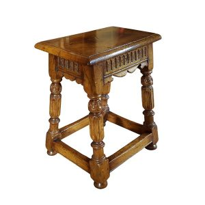 Small Stool with Carving - Oak Benches, Settles & Stools - Tudor Oak