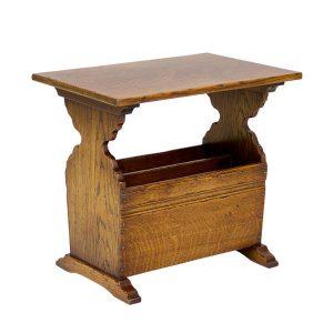 Solid Oak Magazine Rack Table - Wooden Magazine Racks - Tudor Oak, UK