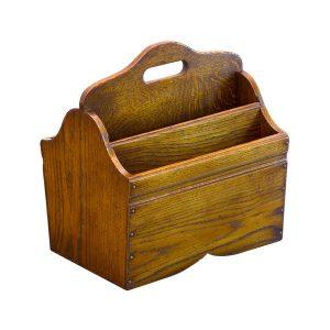 Solid Oak Magazine Rack - Wooden Magazine Racks - Tudor Oak, UK