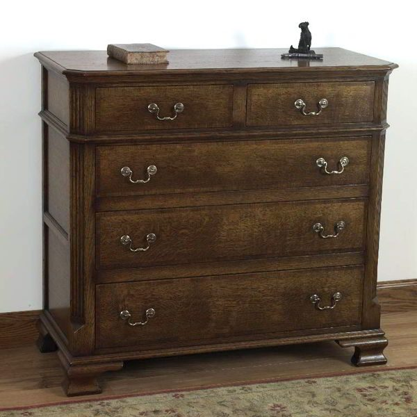 Wide Chest of Drawers - Solid Oak Chests of Drawers - Tudor Oak, UK