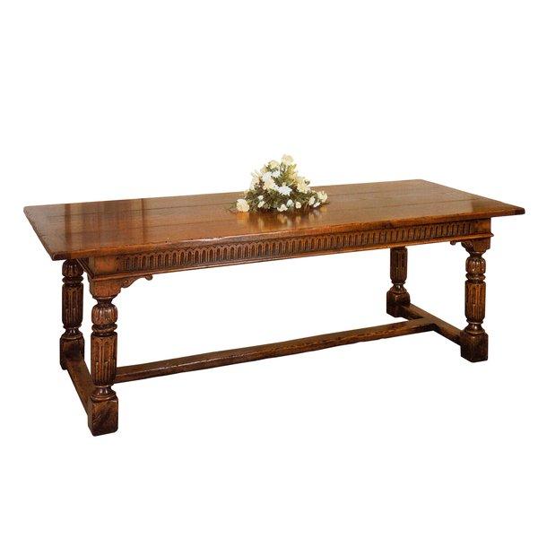 Carved Oak Refectory Table - Solid Oak Dining Tables - Tudor Oak, UK