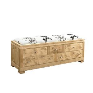 Upholstered Storage Bench - Modern Oak Furniture - Tudor Oak, UK