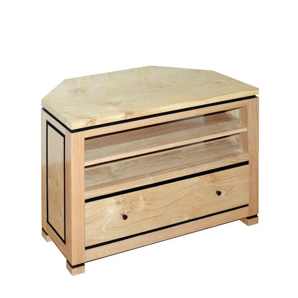 Light Oak Corner TV Stand - Modern Oak Furniture - Tudor Oak, UK